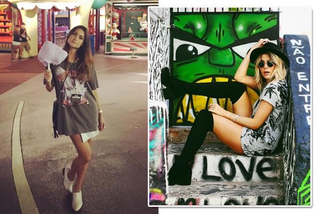 Thaila Ayala e Julia Faria são experts em montar looks com maxicamiseta (Foto: Reprodução Instagram)