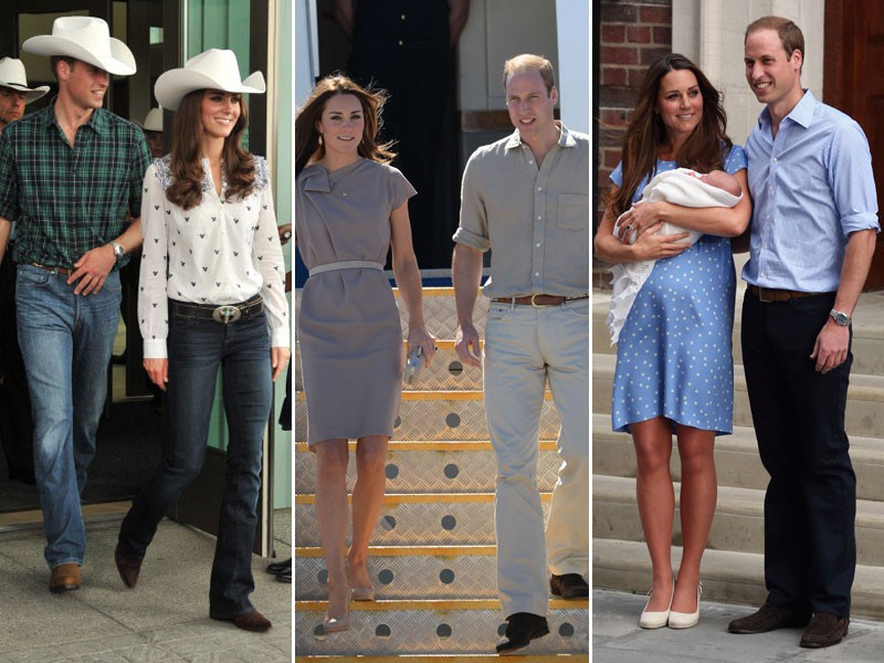 KATE MIDDLETON E PRÍNCIPE WILLIAM ADORAM USAR AZUL OU COORDENAR CORES NEUTRAS (Foto: Getty Images)