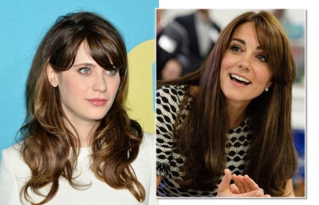 A franja em Zooey Deschanel e Kate Middleton modelou o penteado sem muito esforço (Foto: Ben Gabbe/WPA Pool/Getty Images)