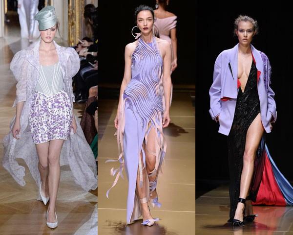 Opções mais despojadas nos desfiles de Ulyana Sergeenko e Versace (Foto: Getty Images)