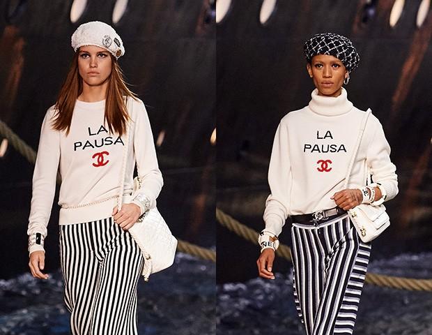 As mini-bolsas e as boinas foram um destaque da coleção (Foto: Divulgação / Chanel)