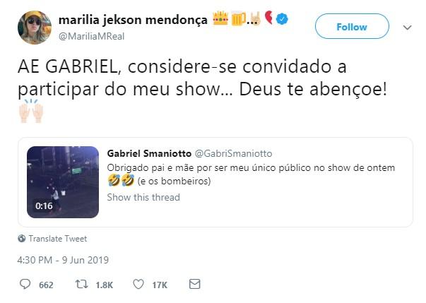 Marília Mendonça convida Gabriel para show (Foto: Twitter/Reprodução)