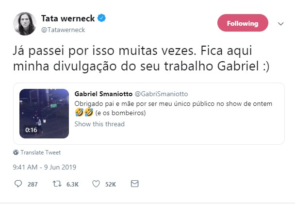 Tatá Werneck apoia cantor Gabriel Smaniotto (Foto: Twitter/Reprodução)