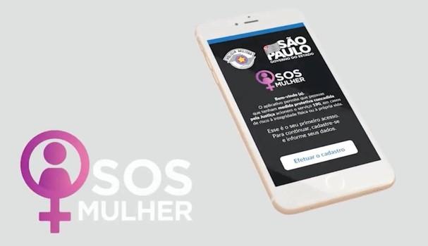 App SOS Mulher: podem se cadastrar mulheres que têm medidas protetivas concedidas pelo Tribunal da Justiça de São Paulo (Foto: Reprodução)