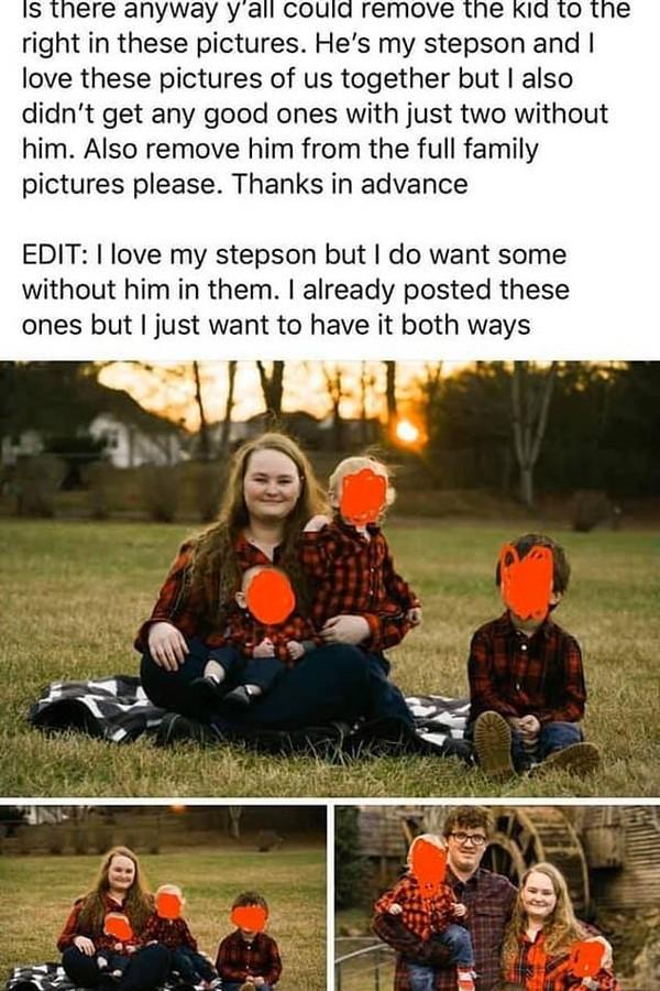 Madrasta pediu que enteado fosse retirado de fotos (Foto: Facebook/Reddit)