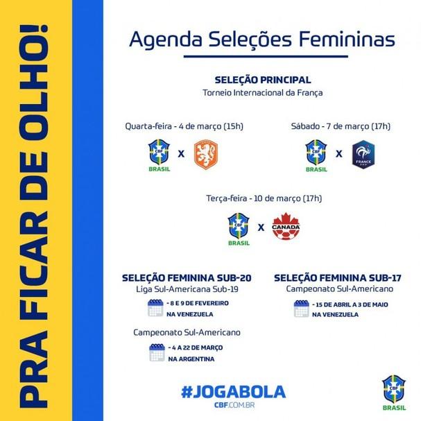 Agenda de jogos femininos é divulgada pela CBF (Foto: Reprodução/Instagram)